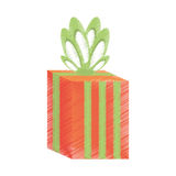 Drawing gift box stripes green bow festivity. Illustration eps 10 Stock Images