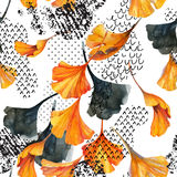 Drawing of ginkgo leaves, ink doodle, grunge, water color paper textures. Abstract watercolor seamless pattern in autumn colors. Drawing of ginkgo leaves, ink Stock Photography