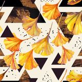 Drawing of ginkgo leaves and triangles filled with ink doodles, golden grunge textures. Abstract watercolor seamless pattern in autumn colors. Drawing of ginkgo Royalty Free Stock Images