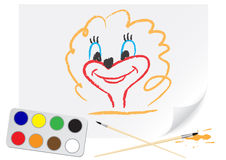 Drawing girl. Nursery drawing girl on a paper Royalty Free Stock Photos