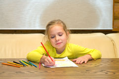 Drawing girl. Royalty Free Stock Photography