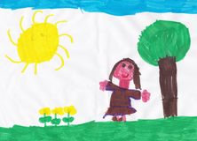 Drawing of a girl of asylum depicting a little girl. In a field during a beautiful sunny day Stock Photography