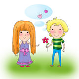 Drawing of  girl and  boy Royalty Free Stock Photos