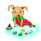 Drawing, girl with cubes on a white background. Child's drawing, the child plays toy Royalty Free Stock Images