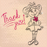 Drawing girl with flower says thank you Stock Photos