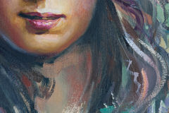 Drawing of girl, fragment, painting. Drawing of young girl, fragment, painting Stock Image