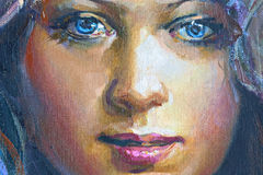 Drawing of girl, fragment, painting Royalty Free Stock Photo