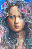 Drawing of girl, fragment, painting. Drawing of young girl, fragment, painting Royalty Free Stock Photography