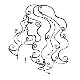 Drawing. A girl with long hair Stock Images