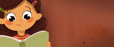 Drawing of a girl reading a book Stock Image