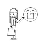 Drawing girl shopping with clothes. Vector illustration eps 10 Royalty Free Stock Photography