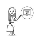 Drawing girl shopping with laptop online Royalty Free Stock Image