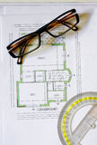 Drawing with glasses Stock Photo