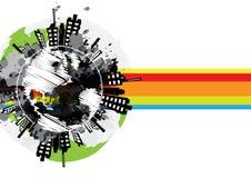 Drawing global urban banner design Royalty Free Stock Photo