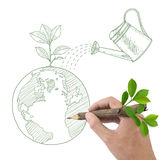 Drawing Globe With Green Plant And Watering Can. Stock Photography