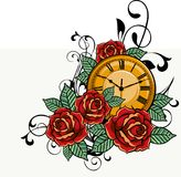 Gold watch surrounded by roses. Drawing of a gold clock put in the middle of a bush of red and orange roses Royalty Free Stock Photo