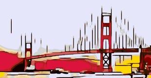 Drawing Golden Gate bridge, San Francisco, USA Royalty Free Stock Photo