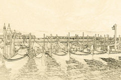 Drawing of Gondolas In Venice. Gondolas in the Venitian Lagoon, drawing with pencil stock photography