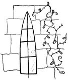 Drawing of gothic window. On wall with vine, white background Stock Photos