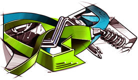 Drawing graffiti on the motorcycle style. Illustrated. Royalty Free Stock Photo