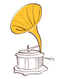 Drawing gramophone vector Royalty Free Stock Images