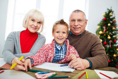 Drawing with grandparents Stock Photos