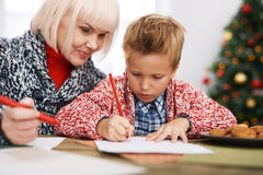 Drawing with grandson Stock Photos