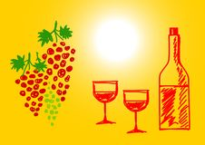 Drawing of grape and wine Stock Images