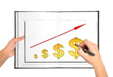 Drawing graph of growth Stock Photos