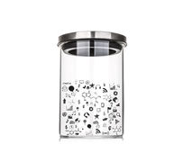 Drawing graph inside glass jar with aluminum lid Royalty Free Stock Photo