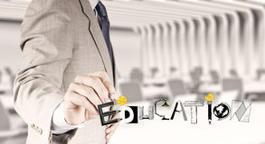Drawing graphic design EDUCATION. Business hand drawing graphic design EDUCATION  word  as concept Stock Photos