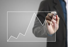 Drawing graphics  growing graph Royalty Free Stock Photo