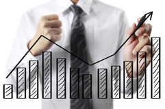 Drawing graphics  growing graph Royalty Free Stock Image