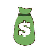 Drawing green bag money dollar cash. Illustration eps 10 Stock Images