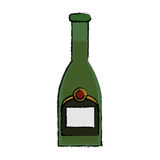 Drawing green bottle champagne plastic cork outline Stock Photos