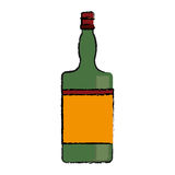 Drawing green bottle whiskey expensive liquor. Vector illustration eps 10 Stock Photography