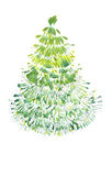 Drawing Green christmas tree Royalty Free Stock Photos