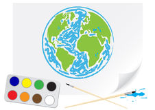 Drawing green Earth Stock Photography