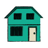 Drawing green house home family residential Royalty Free Stock Photos