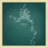 Drawing of green ivy in flowerpot. Abstract vector template Stock Images