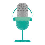 Drawing green microphone vintage communication audio Stock Photo