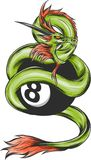 Dragon grips the black ball number eight. Drawing of a green and red dragon with a long horn which is surrounding the black ball with the numer eight on it royalty free illustration