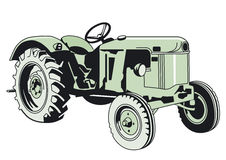Drawing of a Green Tractor Stock Image
