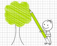 Drawing green tree Stock Photography