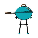 Drawing grill barbecue kettle food camping. Vector illustration eps 10 Stock Images