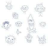 Drawing of a group of faces Royalty Free Stock Photography