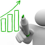Drawing Growth Bar Chart on Board Stock Image