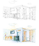 Drawing of a hall with pencil in black and white and in color. Colorful and black and white diptych of a hall and drawing room Royalty Free Stock Photography