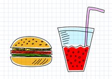 Drawing of hamburger Stock Images