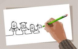 Drawing hand stock illustration